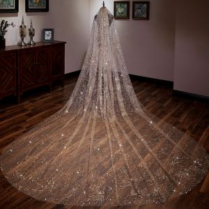 Brillante Oro Glitter Velo de novia 2019