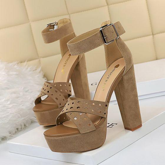 Mode Marron Vêtement de rue Daim Sandales Femme 2020 Bride Cheville 13 cm Talons Épais Plateforme Peep Toes / Bout Ouvert Percé Sandales