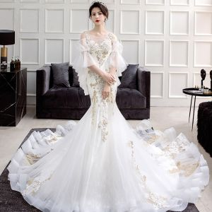 Chic / Beautiful Ivory See-through Wedding Dresses 2018 Trumpet / Mermaid Scoop Neck Puffy 3/4 Sleeve Appliques Lace Chapel Train Ruffle
