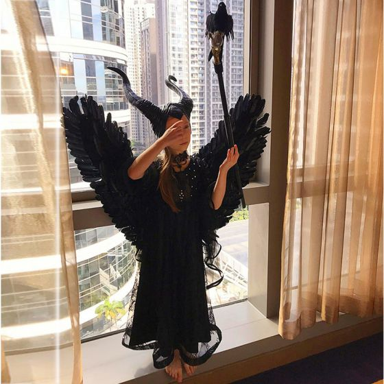 Halloween Cosplay Black Flower Girl Dresses 2020 Sheath / Fit High Neck 1/2 Sleeves Rhinestone Floor-Length / Long Ruffle