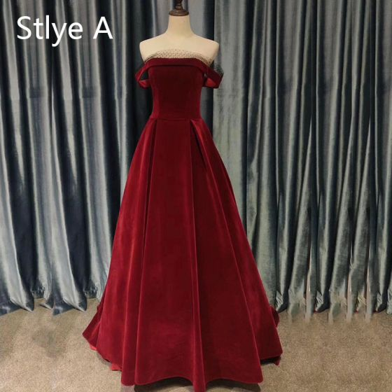 Vintage / Retro Burgundy Evening Dresses  2020 A-Line / Princess Suede Off-The-Shoulder Sleeveless Backless Tea-length Formal Dresses