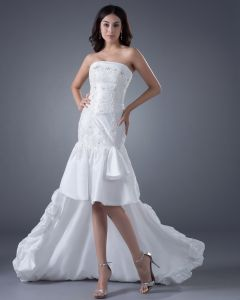 Taffeta Ruffles Strapless Asymmetrical Bridal Gown Wedding Dress