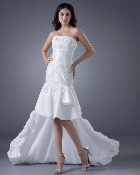 Taffeta Ruffles Strapless Asymmetrical Bridal Gown Wedding Dress