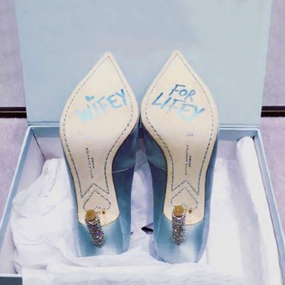 Elegantes Azul Cielo Gala Zapatos De Mujer 2018 Cuero 10 cm Rhinestone Stilettos / Tacones De Aguja Punta Estrecha Tacones