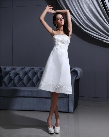Strapless Lace Up Sleeveless Embroidery Beading Knee Length Satin Woman Short Wedding Dress