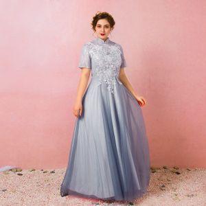 Chinesischer Stil Himmelblau Übergröße Ballkleider 2018 A Linie Schnüren Tülle Stehkragen Applikationen Rückenfreies Abend Ball Abendkleider