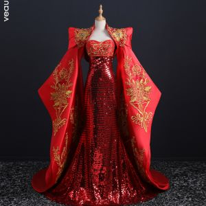 red chinese evening dress