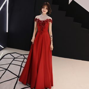 Chinese style Red See-through Evening Dresses  2019 A-Line / Princess High Neck Cap Sleeves Sash Appliques Lace Beading Floor-Length / Long Backless Formal Dresses