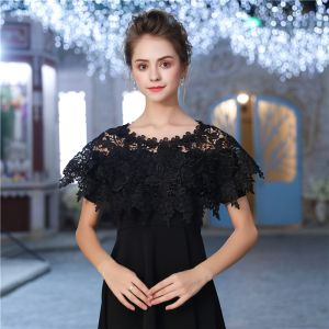 Black Scoop Neck Lace-up Tulle Evening Party Prom Shawls 2017