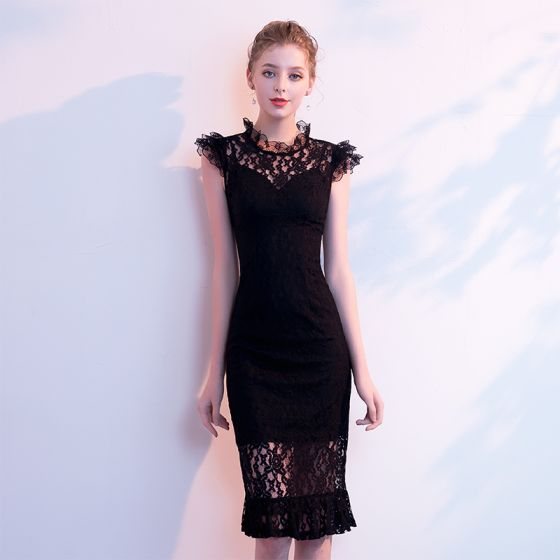 Affordable Black Pierced Evening Dresses  2019 High Neck Sleeveless Knee-Length Formal Dresses