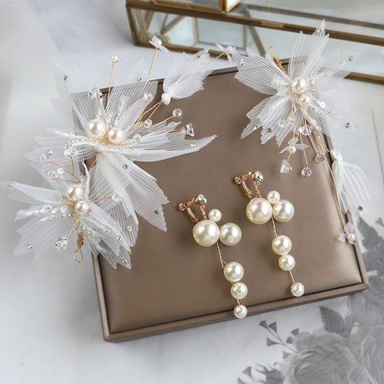 Piękne Kość Słoniowa Kwiat Jedwabiu Biżuteria Ślubna 2020 Stop Perła Kryształ Kolczyki Ozdoby Do Włosów Ślub Akcesoria