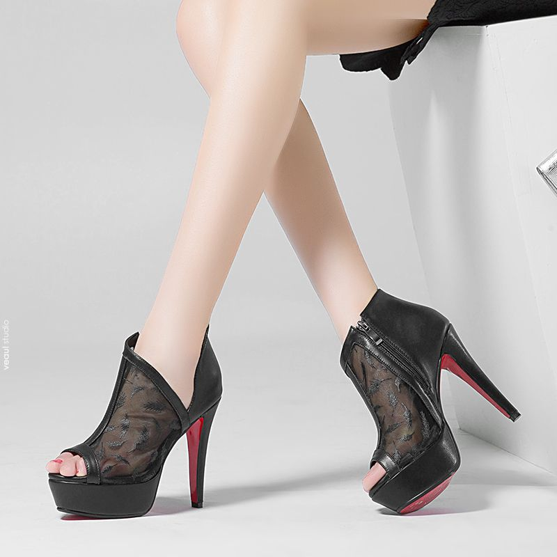 Amazing / Unique Casual Womens Boots 2017 Leather Ankle Pierced Platform Open / Peep Toe High Heel Boots