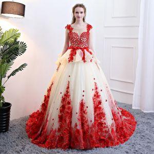 Maravilloso Champán Rojo Vestidos de gala 2018 Ball Gown Apliques Rebordear Scoop Escote Sin Espalda Sin Mangas Chapel Train Vestidos Formales