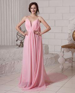 Elegant Feste Rüsche Tiefem V-ausschnitt Ärmellos Reißverschluss Chiffon Abendkleid