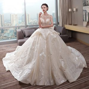 Luxury / Gorgeous Champagne Wedding Dresses 2019 Ball Gown Scoop Neck Sequins Lace Flower Sleeveless Backless Cascading Ruffles Cathedral Train