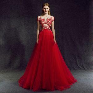 Atemberaubend Rot Abendkleider 2018 A Linie Rundhalsausschnitt Reißverschluss Perlenstickerei Lange Rüschen Tülle Festliche Kleider