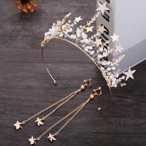 Chic / Beautiful Gold Star Bridal Jewelry 2019 Metal Pearl Crystal Tiara Tassel Earrings Wedding Accessories