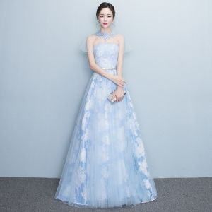 Chic / Beautiful Sky Blue Evening Dresses  2017 A-Line / Princess Sweep Train High Neck Short Sleeve Backless Metal Sash Printing Formal Dresses