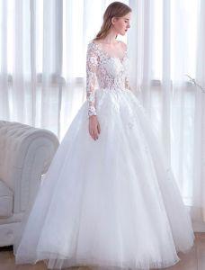 Efektowne Suknie Ślubne 2017 Kwadratowy Dekolt Aplikacja Koronki Białe Tiulowe Sukienki Ślubne