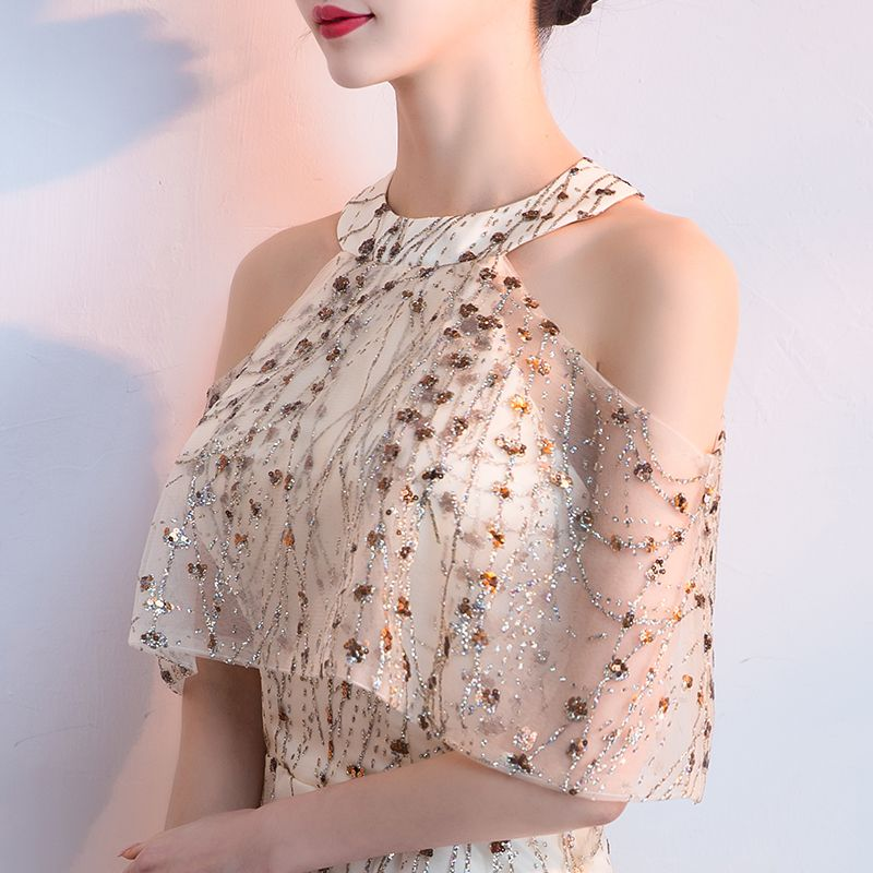 Sexy Champagne Evening Dresses  2018 A-Line / Princess Glitter Sequins Scoop Neck Strapless Sleeveless Floor-Length / Long Formal Dresses