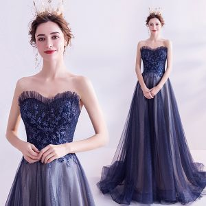 Charming Navy Blue Evening Dresses  2020 A-Line / Princess Strapless Glitter Sequins Sleeveless Backless Sweep Train Formal Dresses