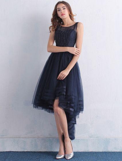 Belles Robe De Cocktail 2016 Encolure Dégagée Perlage Marine Robe Asymétrique Bleu Avec Ceinture