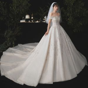 Luxury / Gorgeous Champagne Wedding Dresses 2020 Ball Gown Off-The-Shoulder Detachable Long Sleeve Backless Appliques Lace Beading Sequins Glitter Tulle Cathedral Train Ruffle