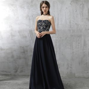 Mode Abendkleider 2017 Tintenblau A Linie Lange Herz-Ausschnitt Ärmellos Rückenfreies Strass Pailletten Festliche Kleider