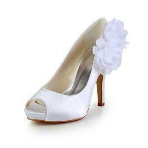 Piękne Białe Buty Ślubne Satynowe Szpilki Peep Toe Czółenka Z Kwiatami
