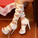Amazing / Unique Casual Womens Boots 2017 PU Strappy Platform High Heel Open / Peep Toe Mid Calf Boots