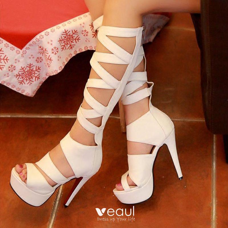 peep toe calf boots