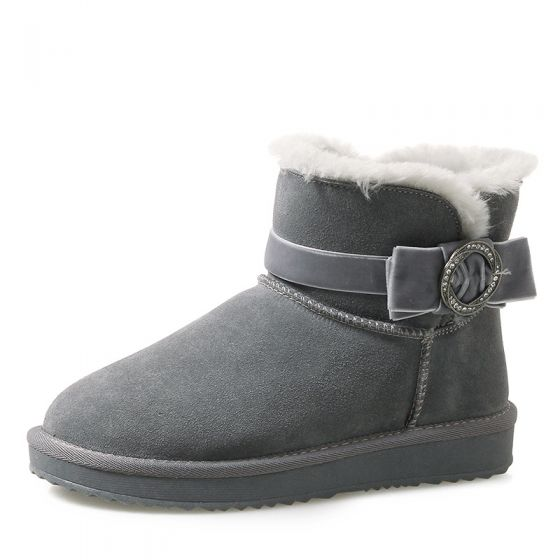 Modern / Fashion Womens Boots 2017 Grey Leather Ankle Suede Casual Bow Buckle Winter Flat Snow Boots