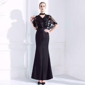 Schöne Schwarz Abendkleider 2018 Mermaid V-Ausschnitt Spitze 1/2 Ärmel Knöchellänge Festliche Kleider