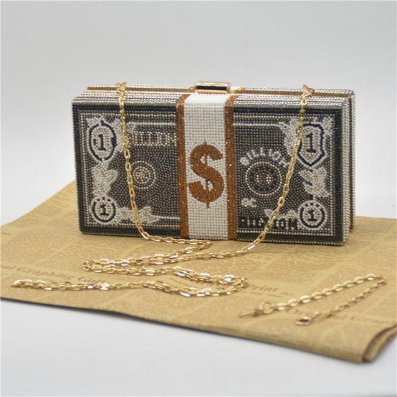 Unieke Zwarte Rhinestone Vierkante Dollar Handtassen 2021