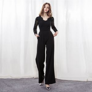 Elegant Black See-through Jumpsuit 2019 V-Neck Long Sleeve Appliques Lace Sash Ankle Length Evening Dresses