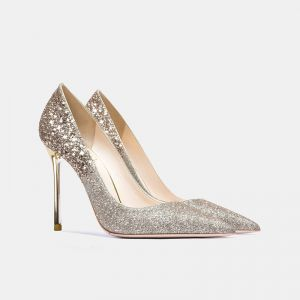 Glittrande Champagne Guld Glittriga / Glitter Paljetter Afton Pumps 2021 Läder 10 cm Stilettklackar Spetsiga Pumps
