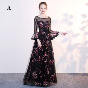 Piękne Czarne Sukienki Wieczorowe 2017 Princessa Koronkowe U-Szyja Aplikacje Bez Pleców Frezowanie Wieczorowe