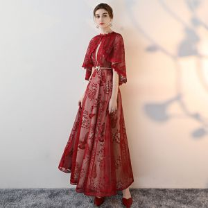 Chic / Beautiful Burgundy Evening Dresses  A-Line / Princess 2018 Lace Printing Bow Scoop Neck With Shawl Short Sleeve Backless Floor-Length / Long Formal Dresses