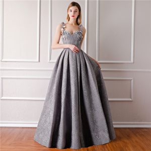 Modern / Fashion Grey Evening Dresses  2019 A-Line / Princess Sleeveless Shoulders Flower Rhinestone Pearl Floor-Length / Long Ruffle Backless Formal Dresses