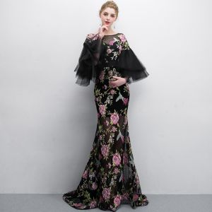 Chic / Beautiful Black Evening Dresses  2018 Trumpet / Mermaid Printing Scoop Neck 3/4 Sleeve Floor-Length / Long Formal Dresses