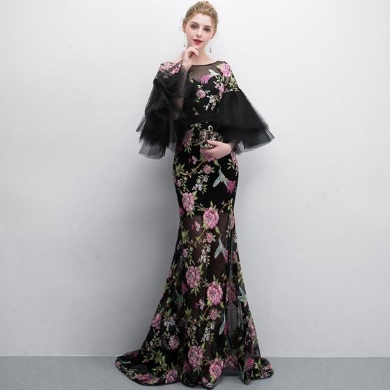 Chic / Beautiful Black Evening Dresses 2018 Trumpet / Mermaid ...