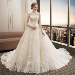 Charming Champagne Wedding Dresses 2019 A-Line / Princess V-Neck Beading Lace Flower Bell sleeves Backless Sweep Train