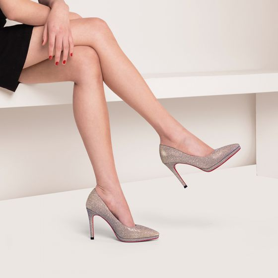 Amazing / Unique Evening Party Pumps 2017 Prom Leather Sequins High Heel Pointed Toe Pumps