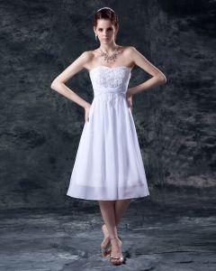 Stickerei Strapless Knielangen Hochzeitskleid