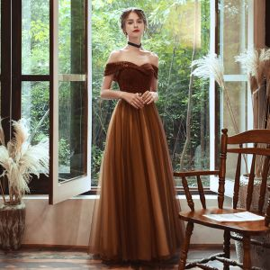 Chic / Beautiful Brown Evening Dresses  2020 A-Line / Princess Off-The-Shoulder Short Sleeve Beading Glitter Polyester Rhinestone Sash Floor-Length / Long Backless Formal Dresses
