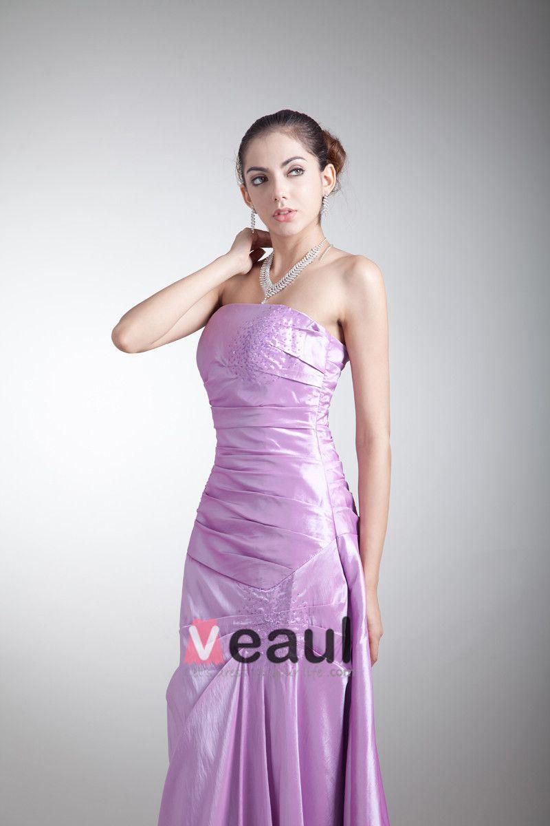 Taffeta Ruffle Sequins Strapless Floor Length Bridesmaid Dress