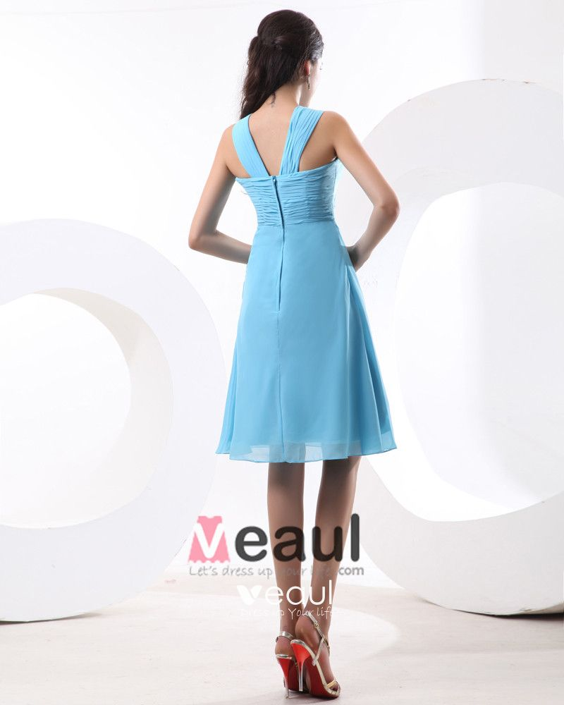 Beautiful Spaghetti Straps Empire Knee Length Chiffon Women's Bridesmaid Dresses