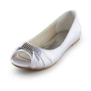 Sparkly Peep Toe Witte Ruche Satijn Platte Bruidsschoenen Trouwsschoenen
