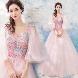 Flower Fairy Blushing Pink Prom Dresses 2019 A-Line / Princess V-Neck 3/4 Sleeve Appliques Lace Floor-Length / Long Ruffle Backless Formal Dresses