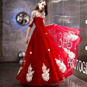 Mode Rot Abendkleider 2018 A Linie Applikationen Spitze Off Shoulder 1/2 Ärmel Rückenfreies Lange Festliche Kleider